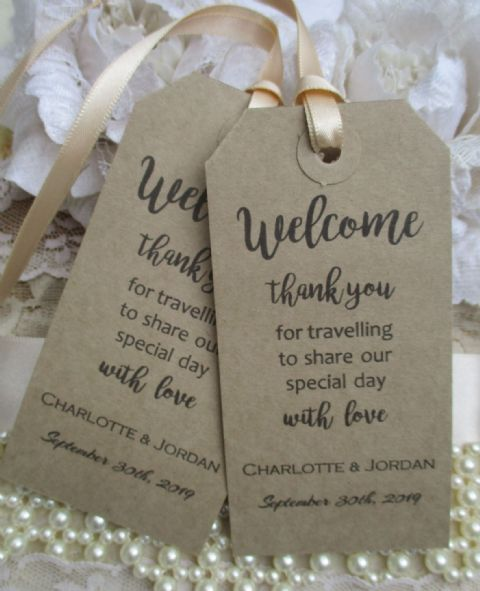 10 Welcome Thank You for Travelling Personalized Kraft